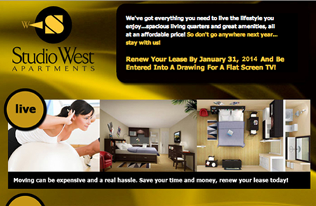 Studio West – Email campaign targeted toward students at Appalachian State University.