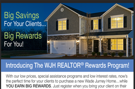 Wade Jurney Homes – Promotional email campaign targeted toward professional real estate agents.
